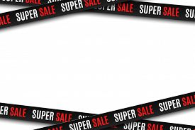 Black Ribbons For Super Sale Isolated On White Background. Stripes For Your Design. Big Sale. Graphi