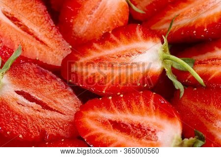 Fruit Background. Strawberry Background. Top View Of Strawberry Slices. Texture Of Strawberry Berrie
