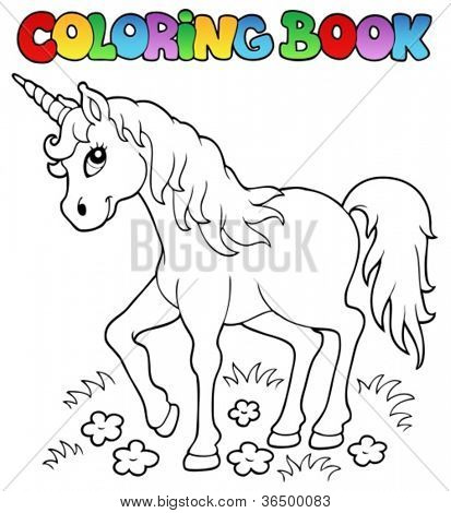 Coloring book unicorn theme 1 - vector illustration.