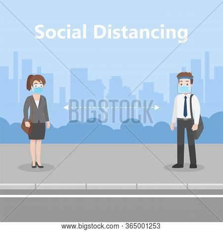 New Normal Life People In Business Casual Outfits Social Distance Wearing A Surgical Protective Medi