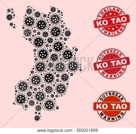 Outbreak Collage Of Virus Mosaic Ko Tao Map And Rubber Seal Stamps. Vector Red Seals With Distress R