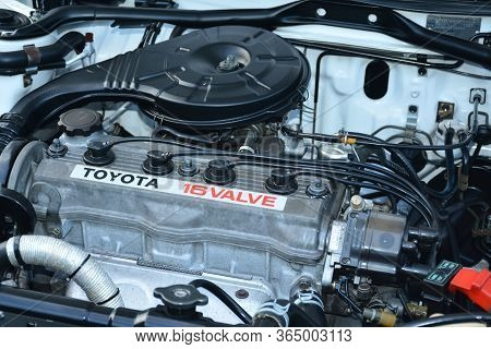 Quezon City, Ph - Apr 13 - Toyota Corolla Motor Engine At Rev Up Car Show On April 13, 2019 In Quezo