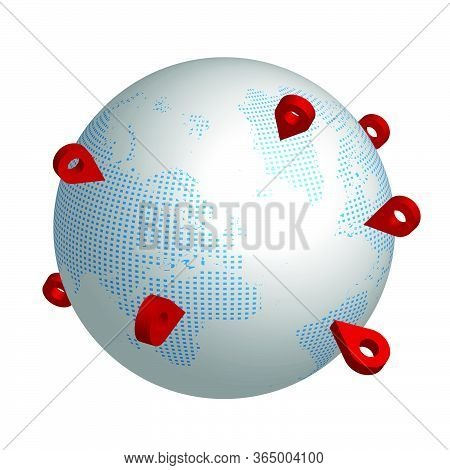 Globe With Red Checkpoints. Travel Itinerary With Arrival Notes. Isolated Vector On White Background