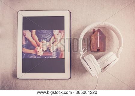 Children Praying With Father Parent With Digital Tablet, Family And Kids Worship Online Together At