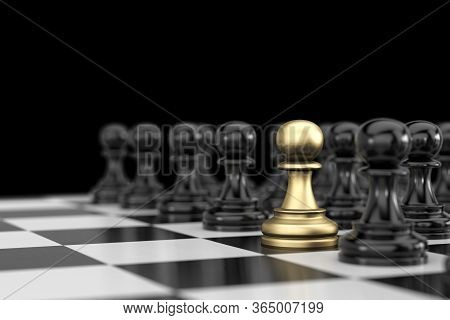 Gold And Black Chess Concept, 3d Illustration.  The Staff Or Employees With Outstanding Work. Busine
