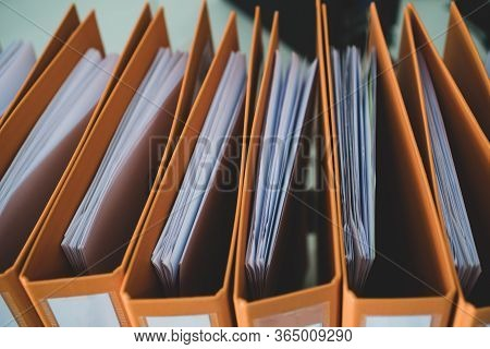 Document Binder File Folders Stack On Office Desk In Organization With Report Paper, Paperwork Recor