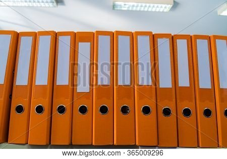 Education Report In School,class Documents Of Binders File Paperwork Document With Note,with Blank L