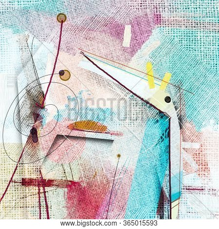 Illustration Acrylic And Watercolor, Paint Color Background. Contemporary Artwork For Creative Graph