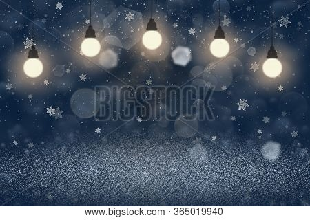 Blue Wonderful Brilliant Abstract Background Glitter Lights With Light Bulbs And Falling Snow Flakes