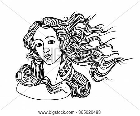 The Head Of Goddess Of Love, From A Painting By Botticelli, The Birth Of Venus, For A Logo, Vector I