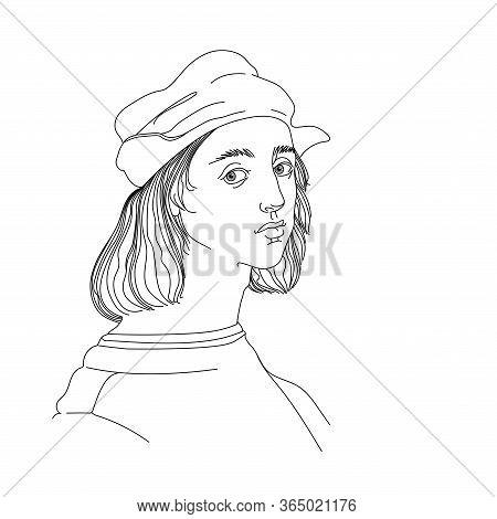 Self Portrait Of A Young Italian Renaissance Artist & Architect Raphael Santi In A Cap, For A Logo,
