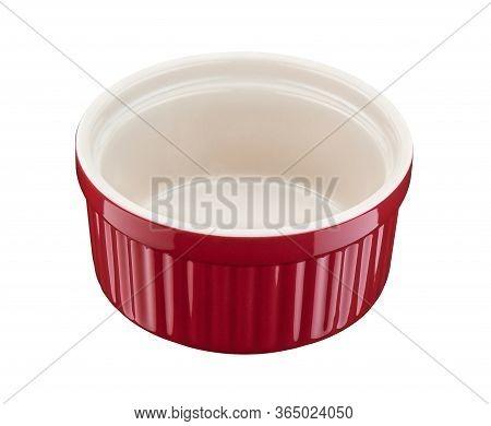 Red Round Empty Porcelain Ramekin On A White Background