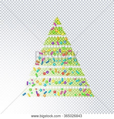 Sprinkle With Grains Of Desserts. Abstract Transparent Christmas Tree Sprinkles Grainy With Shadow O