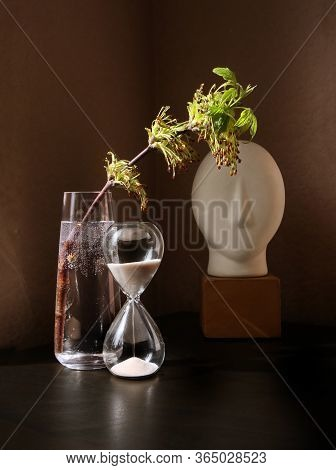 Still Life With Flowering Spring Twig Of Ash-tree With Young Leaves In A Glass Vase And Vintage Sand