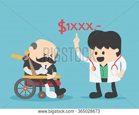 Concept Cartoon Illustration Elderly With No Money To Pay For Medical Expenses In An Emergency