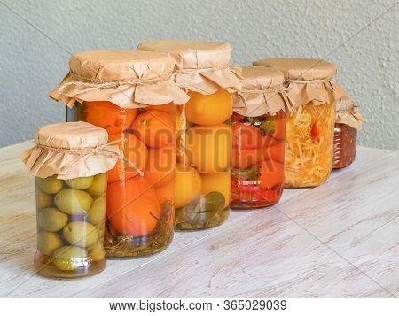 Marinated Pickles Variety Preserving Jars. Fermented Homemade Food.