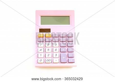Purple Calculator Isolated On A White Background