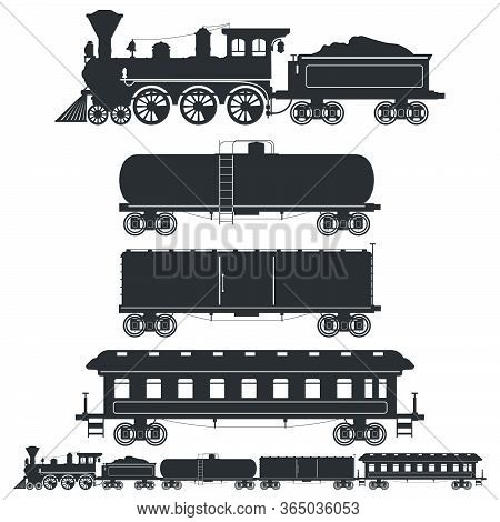 Set Of Silhouettes Vintage Train In Retro Style. Сistern Car, Container And Passenger Waggons. Vecto