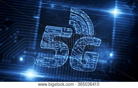 5g, Futuristic Technology, Modern Communication And Iot. Mobile Phone Network Production Line Abstra
