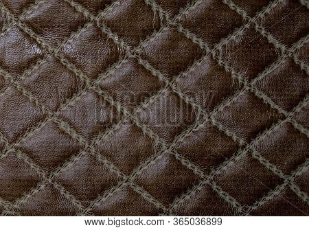 Brown Faux Leather. Faux Leather Texture With A Diamond Pattern.