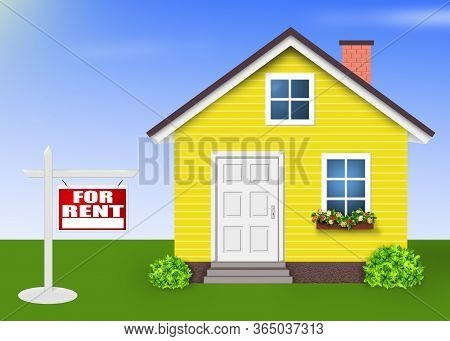 House For Rent Isolated , Home Yellow Simple