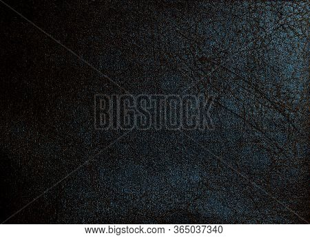 Dark Faux Leather With Uneven Lines. Artificial Leather Texture