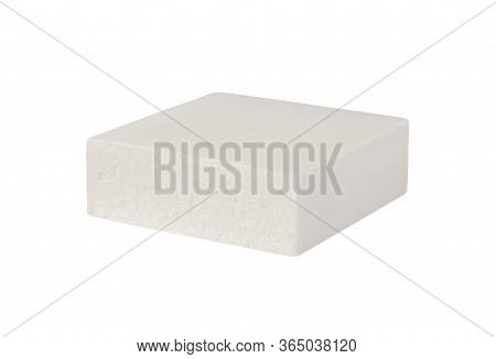 Block Of Brined Curd White Cheese Feta Or Bryndza Isolated On White Background