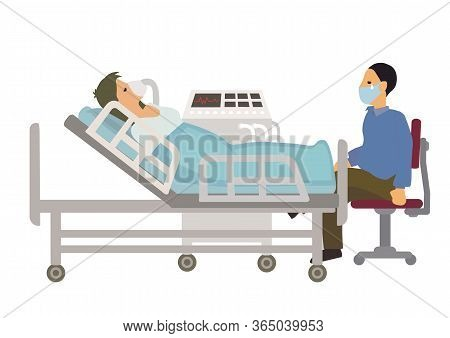 Intensive Care Patient Woman Receiving Oxygen From A Ventilation In Intensive Care Department Ward W