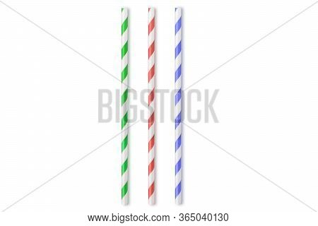 Colored Paper Straws Isolated On White Background, Top View