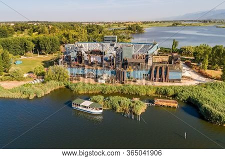 Aerial View Of The Open-air Giacomo Puccini Grand Theate Located In Torre Del Lago Puccini On Lake M