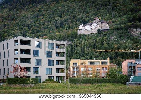 Vaduz, Liechtenstein - October 2019: Vaduz Castle Lies On A Hillside In Urban Area Of Vaduz, The Cap