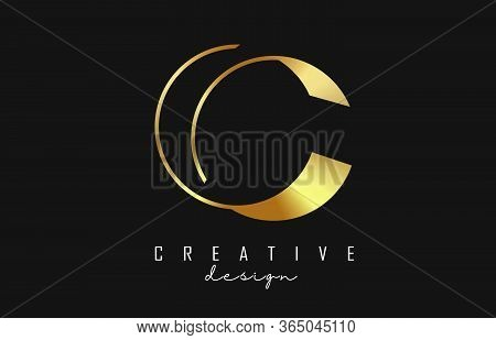 Golden Luxury C Letter Logo With Monogram Design. Graphic Golden C Icon. Graphic Golden C Icon. Crea