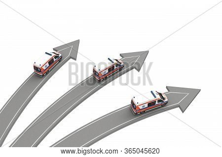 Three Ambulance Go In Different Directions Isolated On White Above View. 3d Rendering