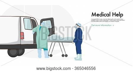 First Aid Doctors Helping Patient. Medical Worker Providing Help Using Rescue Spinal Board.  Drawn C