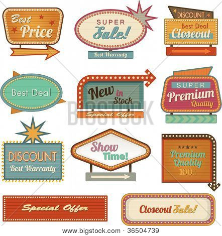 Retro banner sign/ad. Vector illustration