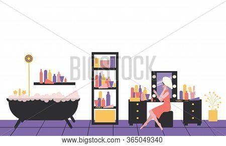 Woman In Bathroom Care Cares For The Skin. Everyday Personal Care, Hygienic Procedure. Bathroom Inte