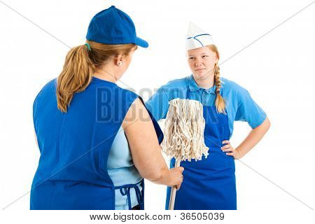 ...but somebody's got to do it.  Boss hands teen worker a mop to clean up a mess.  Isolated on white.