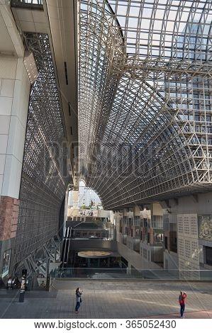 Kyoto, Japan - November 3 2017: Modern Architecture Interior Of Kyoto Railway Station In Kyoto, Japa