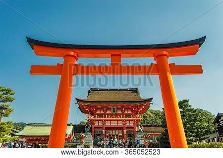 Kyoto / Japan - November 3, 2017: Famous Fushimi Inari Shinto Shrine In Kyoto, Japan