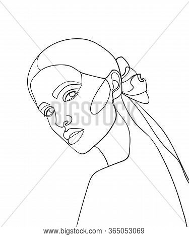 Woman Face Continuous Line Drawing.  Fashion Concept, Woman Beauty Minimalist, Vector Illustration F
