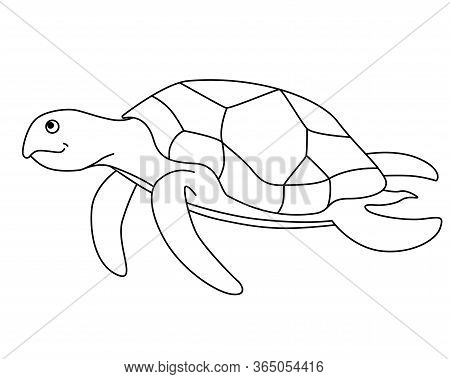 Turtle. Sea Turtle Is Swimming - Vector Linear Picture For Coloring. Vector Turtle For Coloring Book