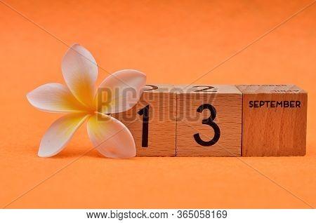 13 September On Wooden Blocks With A Frangipani Flower On An Orange Background