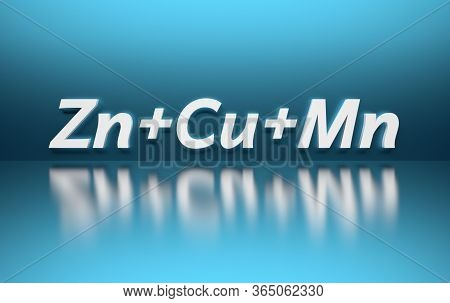 Letters Zn + Cu + Mn Standing For Zinc Copper And Manganese In White Letters Standing For Supplement
