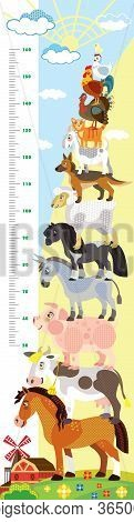Height Meter With Pyramid Of Farm Animals Vector Cartoon Illustration In Flat Style. Vector Vertical
