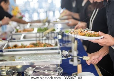 Food Buffet Catering Dining Eating Party Sharing Concept.people Group Catering Buffet Food Indoor In
