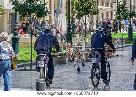 Thessaloniki, Greece May 4 - 2020: Hellenice Police Officers Bike Patrol. Greek Policemen In Uniform
