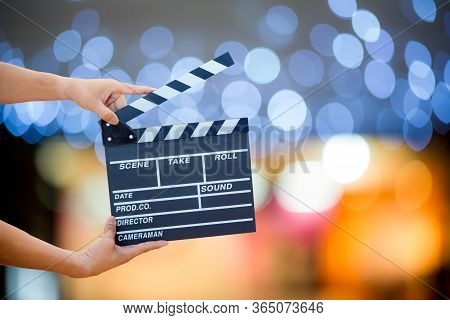 Man Hands Holding Movie Clapper.film Director Concept.camera Show Viewfinder Image Catch Motion In I