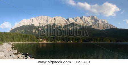 Zugspitze, Waxensteine And Lake Eibsee, Germany