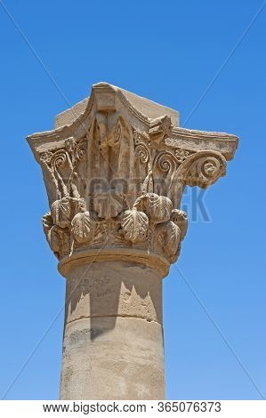 Carvings On Top Of Graeco-roman Column At The Ancient Egyptian Temple Of Hathor In Dendera