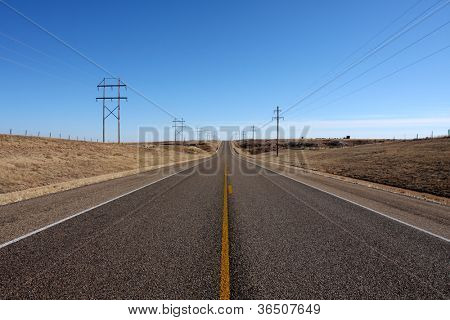Rural Road in the Panhandle Area of Texas